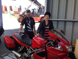Ross & Christine with their Ducati